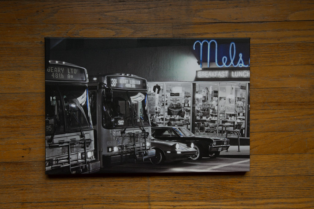 "Just A Good Ol' Fashioned Drag Race at Mel's Diner 12""x18"" Wrapped Canvas Print $100"