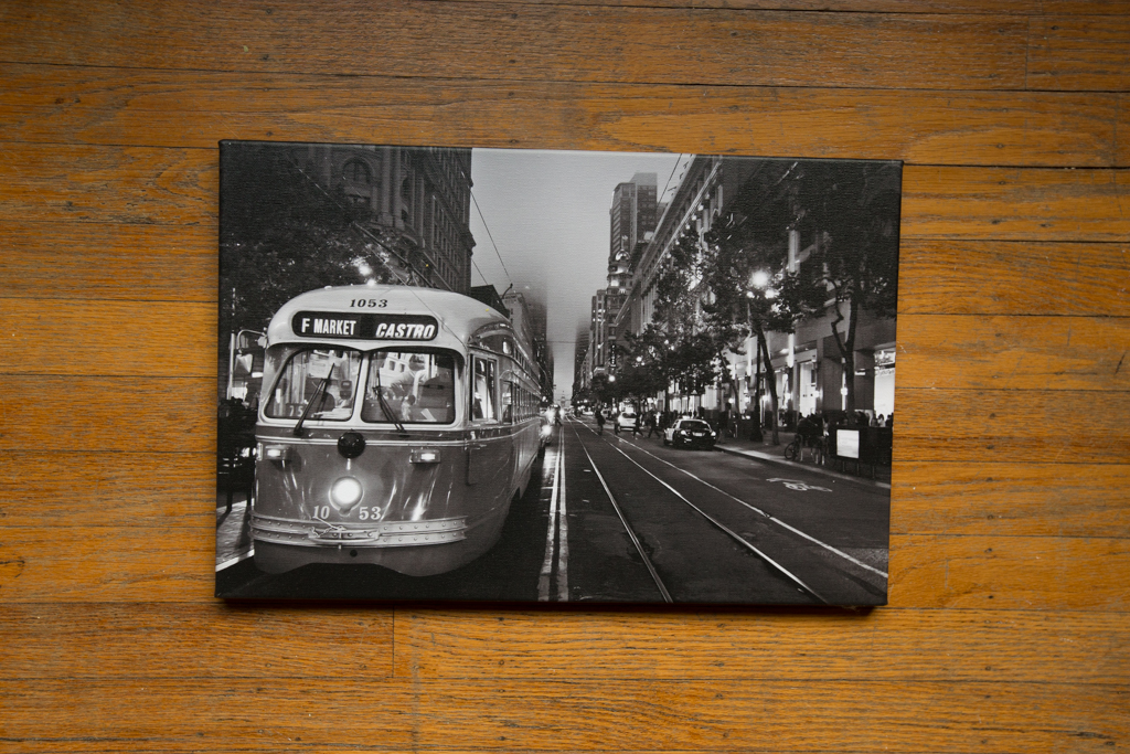 "Market Street Railway 12""x18"" Wrapped Canvas Print (Black and White) $100"