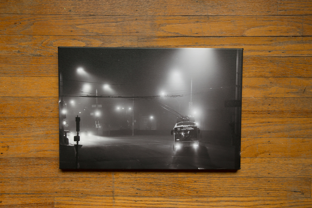 "Under Cover of Fog 12""x18"" Wrapped Canvas Print (Black and White) $100"